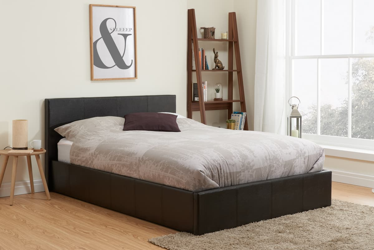 Sensational Berlin Faux Leather Ottoman Bed Available In Black Or Lamtechconsult Wood Chair Design Ideas Lamtechconsultcom