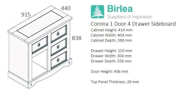 Corona 1 Door 4 Drawer Sideboard-3095