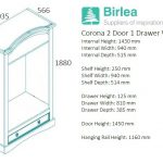 Corona 2 Door 1 Drawer Wardrobe-2681