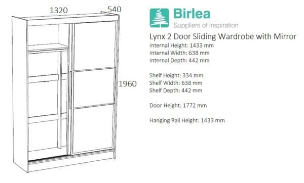 Lynx 2 Door Sliding Robe with Mirror-2739