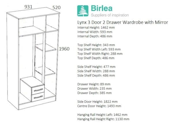Lynx 3 Door 2 Drawer Robe with Mirror-2755