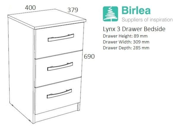 Lynx 3 Drawer Bedside-2691