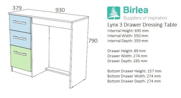 Lynx 3 Drawer Dressing Table-2723