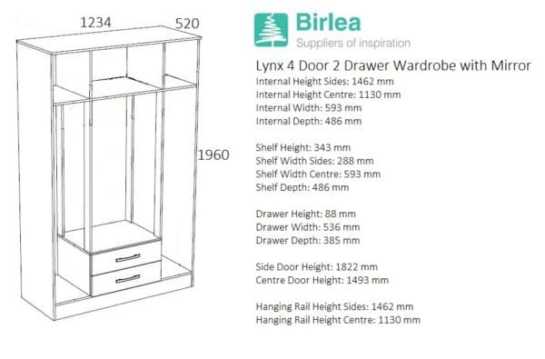Lynx 4 Door 2 Drawer Robe with Mirror-2763