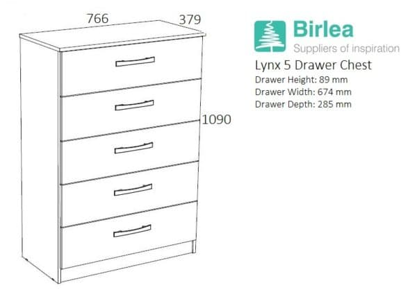 Lynx 5 Drawer Chest-2707