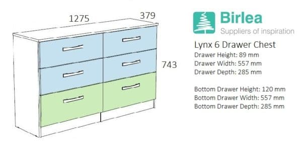Lynx 6 Drawer Chest-2715