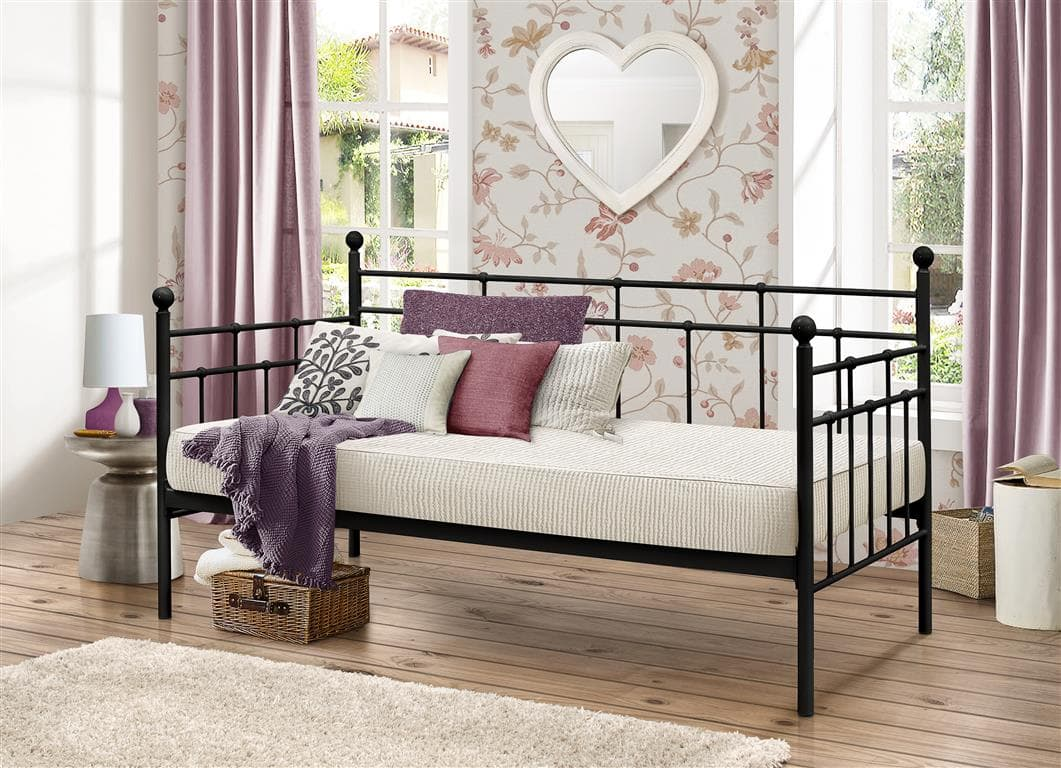 Lyon Steel Daybed Frame In Black Or Creme Birlea