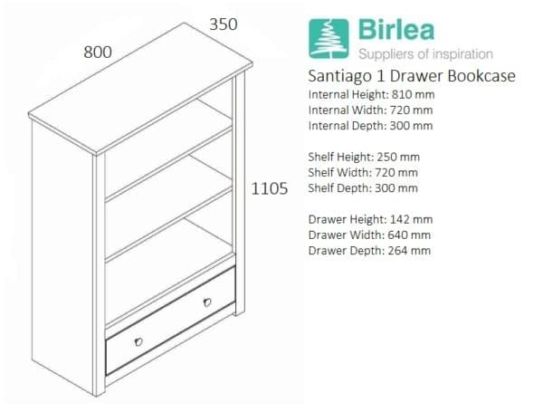 Santiago 1 Drawer Bookcase-3293