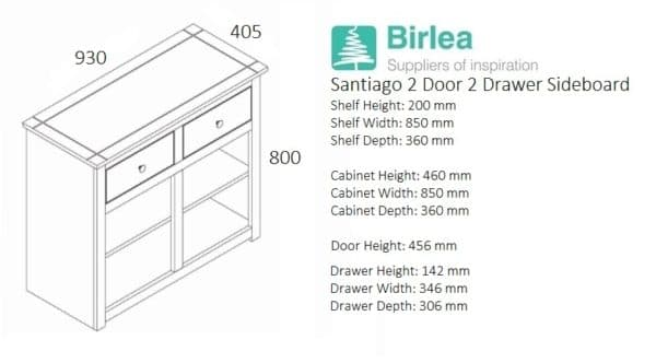 Santiago 2 Door 2 Drawer Sideboard-3347