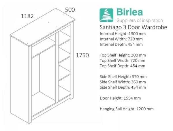 Santiago 3 Door Wardrobe-3263