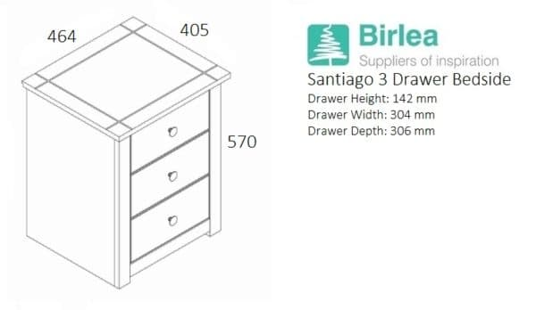 Santiago 3 Drawer Bedside-3253