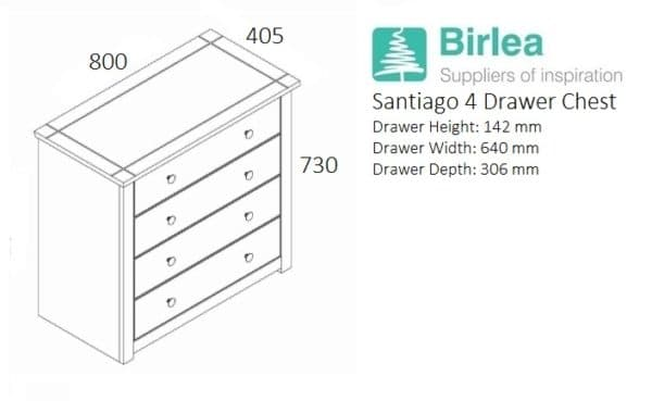 Santiago 4 Drawer Chest -3250