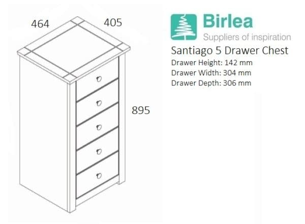 Santiago 5 Drawer Chest -3244