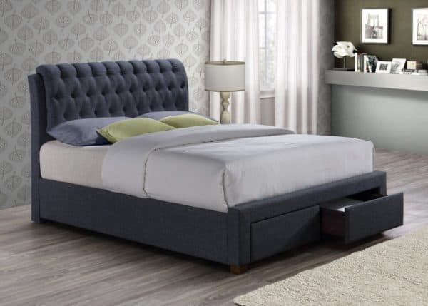 150cm Valentino 2 Drawer Bed Charcoal-0