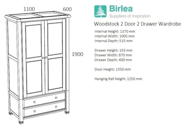 Woodstock 2 Door 2 Drawer Wardrobe-5064