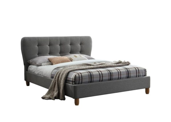 Retro Inspired Stockholm Fabric Bed in Grey