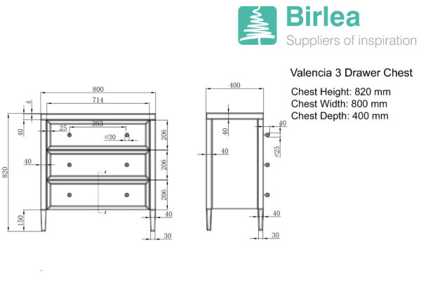 Valencia 3 Drawer Chest-5402