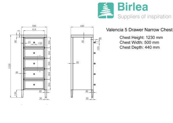 Valencia 5 Drawer Narrow Chest-5403