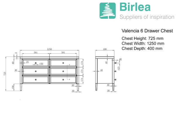 Valencia 6 Drawer Chest-5398