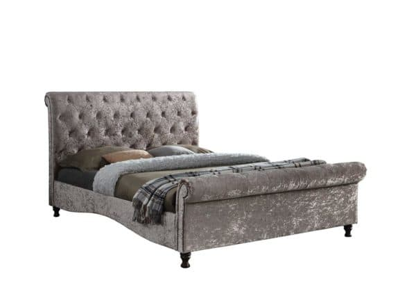 Stylish Brighton Fabric Bed Frame in Grey