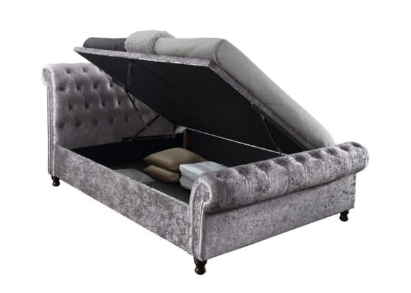 Castello Fabric Side Ottoman Storage Bed in Grey