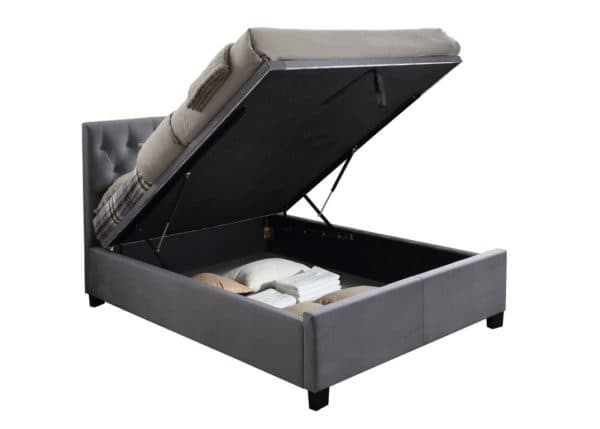 Contemporary Cologne Fabric Ottoman Bed in Grey