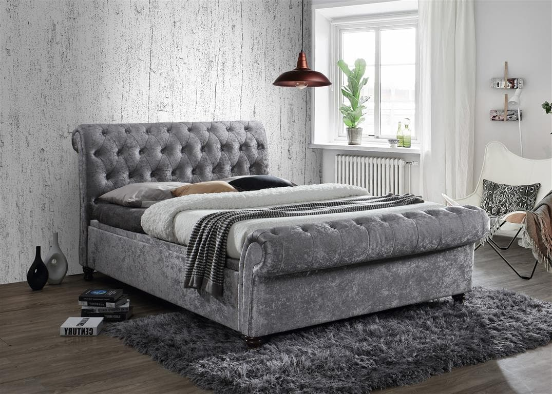Castello Fabric Side Ottoman Storage Bed Crushed Velvet
