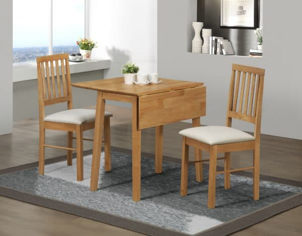 Drop Leaf Dining Set Oak Colour Finish-0
