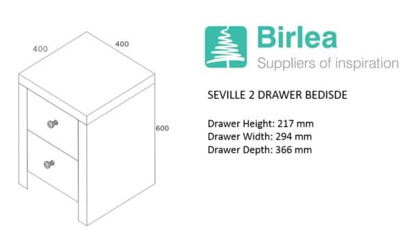 Seville 2 Drawer Bedside -7013