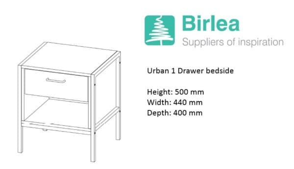 Urban 1 Drawer Bedside-7374