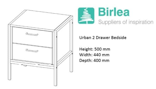 Urban 2 Drawer Bedside-7373