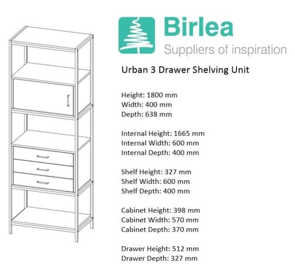 Urban 3 Drawer Shelving Unit -7451