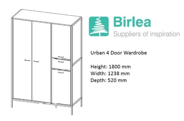 Urban 4 Door Wardrobe-7366