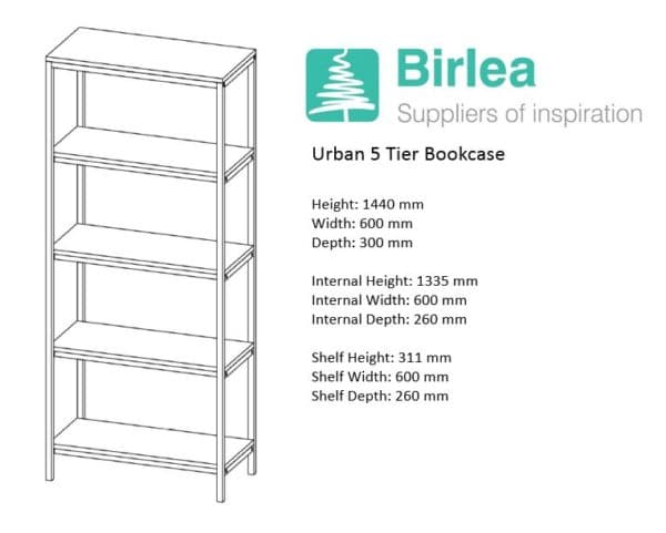 Urban 5 Tier Bookcase-7464