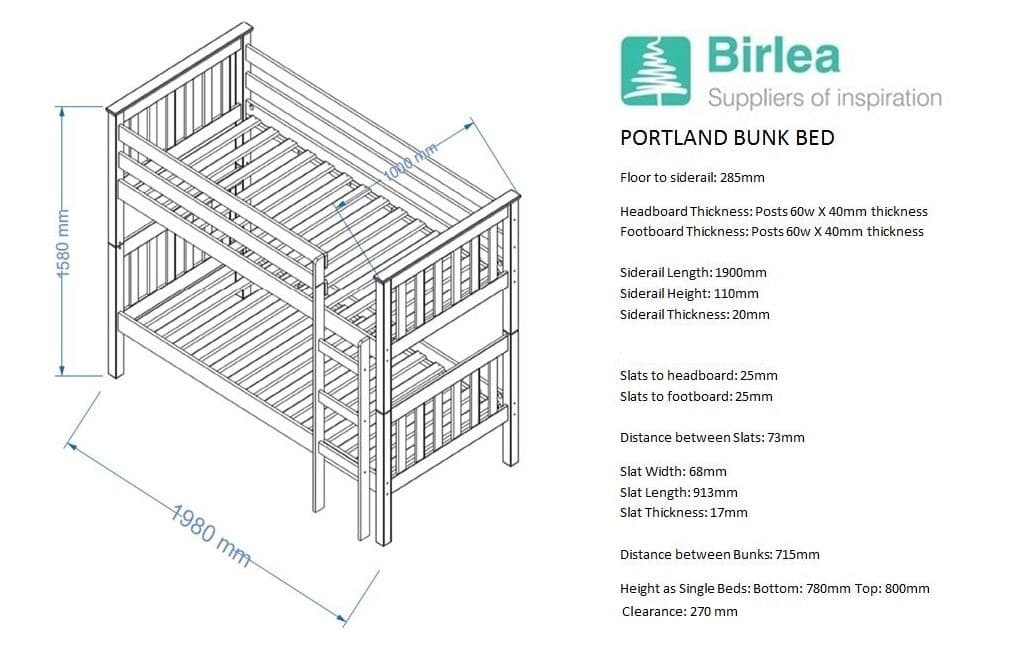 Portland Bunk Bed In White Or Antique Pine Birlea